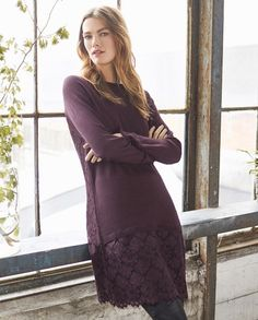 Willow sweater dress - Wrap London - A fabulous little dress in berry black or sophisticated pine. Straight cut, the front panel and raglan sleeves are in pure merino wool but the hemline and the back panel are in a floral lace. Fully lined. 100% Merino. Back 100% Polyester Front 100% Merino, Lining 100% Polyester