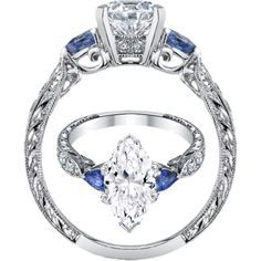 marquise diamond ring settings with side stones - Google Search