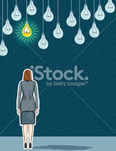 Businesswoman With Bright Idea Concept Illustration Royalty Free Stock Vector Art Illustration