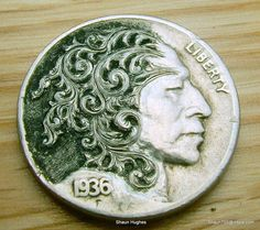 Hobo Nickel Scrollman by Shaun Hughes Carved Coin by shaun750 on deviantART