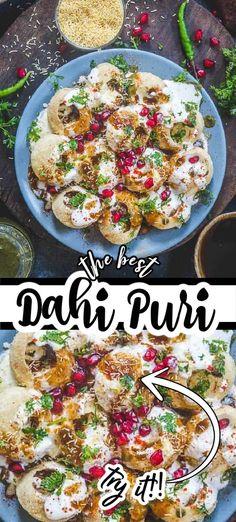 Puri Recipes, Indian Food Recipes, Asian Recipes, Ethnic Recipes, Dahi Puri Chaat Recipe, Sev Puri, Indian Street Food, Middle Eastern Recipes, Chutneys