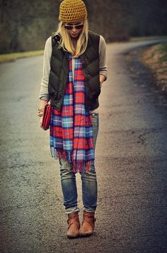 blonde hair cool style plaid