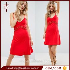 Hot Girls Sexy Soft-touch Jersey Lace Mini Dress Red
