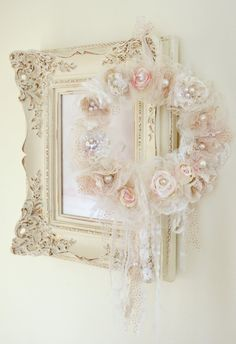 Beautiful Handmade Ribbon Work Wreath by by Jenneliserose on Etsy