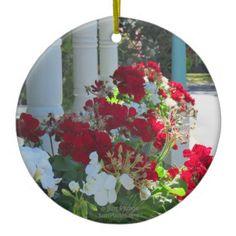 Geranium Flower Box - Martha's Vineyard Cottage Ceramic Ornament - photo gifts cyo photos personalize