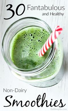 Smoothie Recipes 30 mouthwatering non-dairy smoothie recipes - and they're healthy smoothies too! - If you can't tolerate (or are allergic to) dairy,these non-dairy smoothie recipes taste great and are healthy for you! Green Detox Smoothie, Healthy Green Smoothies, Smoothie Prep, Green Smoothie Recipes, Healthy Detox, Juice Smoothie, Fruit Smoothies, Smoothie Cleanse, Juice Recipes