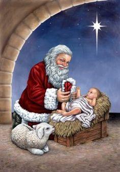 amazoncom jesus with santa decorative estate flag russ david t sands - Santa With Jesus