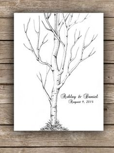 ThumbPrint Fingerprint  Signature Wedding Birch Aspen Tree Guest Book Alternative / Gift / Poster