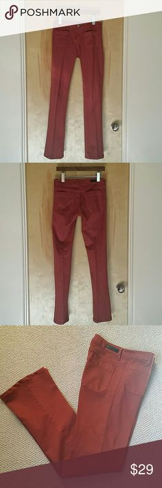 Sanctuary Marianne Front Patch Pocket Pants These are still selling on several online stores. Beautiful brick red color. Pictures don't do this color justice. Fabric super soft and strechy; 33% modal, 22% lyocel, 42% cotton, 3% lycra. These were professionally hemmed to a 32 inch inseam. Worn once and in excellent condition. Sanctuary Pants Boot Cut & Flare