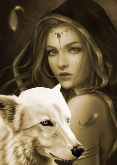 Native American: Woman and Wolf. Wolf Images, Wolf Pictures, Fantasy Wolf, Fantasy Girl, Wolf Spirit, Spirit Animal, Wolf Goddess, Wolves And Women, Wolf Wallpaper