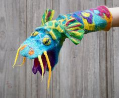 Hand Puppet Turquoise Dragon, Felted Toy, Muppet style Creative play, Nursery Toy, Eco-friendly, OOAK