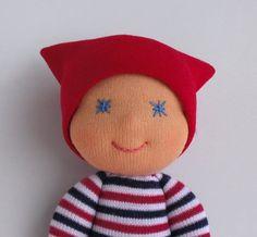 Waldorf Doll, bambola di tasca, calzino bambola, Waldorf baby-doll, bambola Toddler, bambola del panno, Handmade