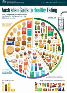 The Australian Guide to Healthy Eating is a food selection guide which visually represents the proportion of the five food groups recommended for consumption each day. Health Snacks, Health Eating, Health Diet, Health And Wellness, Health Care, Baby Health, Healthy Eating Recipes, Nutritious Meals, Diet Recipes
