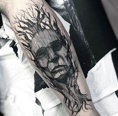 Mens Amazing Portrait Tree Leg Tattoos