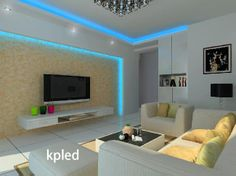 A living room led lighting.Blue strip light,create this beautiful effect.