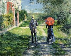 The Path Uphill Painting - The Path Uphil by Gustave Caillebotte