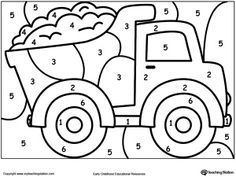 **FREE** Color By Number Truck Worksheet. Printable Color By Number  Coloring Pages. Perfect For Preschoolers To Help Them Develop Eye Hand  Coordination, ...
