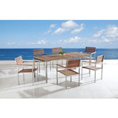 Shop for Beliani Viareggio Teak/ Stainless Steel Dining Table. Get free delivery at Overstock.com - Your Online Garden