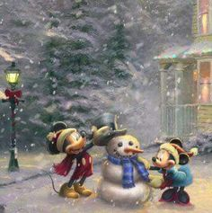 Christmas - Disney - Mickey & Minnie Mouse - By: Thomas Kinkade Disney Dream, Disney Fun, Disney Magic, Disney Stuff, Mickey Mouse And Friends, Disney Mickey Mouse, Minnie Mouse, Princesas Disney Dark, Thomas Kinkade Disney