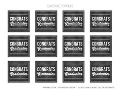 Free Graduation Chalkboard Party Printables - cupcake toppers! See more party ideas and share yours at CatchMyParty.com #catchmyparty #partyideas #freeprintables #graduationprintables #graduationcupcaketoppers