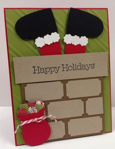 Santa in Chimney Art Stampin Up Christmas Card Kit (5 cards) picclick.com