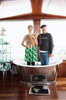 Jasmine and Philippe Stark in Bathtub