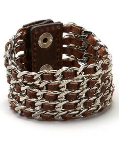 Look at this #zulilyfind! Brown & Silver Chain-Link Leather Bracelet by I Love Accessories #zulilyfinds