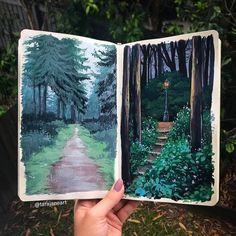 Sketchbook art by Tara Jane Sketchbook Inspiration, Painting Inspiration, Sketchbook Ideas, Art Inspo, Gouche Painting, Art Et Nature, Nature Drawing, Artist Sketchbook, Guache