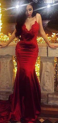 83a3c51b8 Dark Red Lace Applique Jersey Spaghetti Strap Mermaid Prom Dresses.PD00217