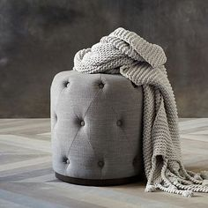 $200 for vanity Upholstered Tufted Round Ottoman  #westelm