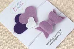 Purple Lavender Heart & Bow Felt Headband or Hair Clip Set; Newborn Baby Child Felt Heart Headband; Felt Bow Tie Headband; Baby Shower Gift