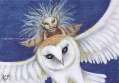 Hitching a Lift! Original ACEO with fairy and barn owl. Limited edition prints also available.