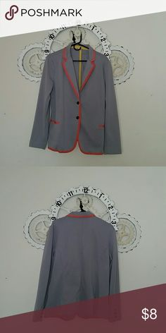 Grey cotton blazer with pop of color Love orange perfect for your wardrobe or just want to add of pop of color; this is the blazer for you. Measurements length from shoulder 26 inches and chest measurement 20 inches. Comes from non smoking home and no imperfections Jackets & Coats Blazers