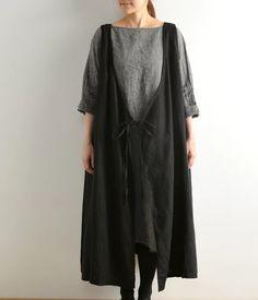 【別注】エプロンワンピース(B・ブラック) nest Robe |ナチュラル服や雑貨のファッション通販サイト ナチュラン