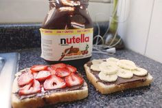Nutella- perfect= banana and peanut butter on one side, strawberries and Nutella on the other!! Yum!