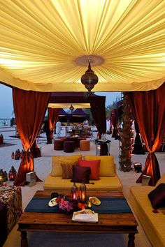 Arabian inspired exotic beach wedding reception! I adore these amazing desert tents and Moroccan inspired decor