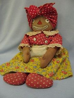 "18"" Transition Georgene Beloved Belindy Cloth Doll Polka Dot Feet Body Stamped"