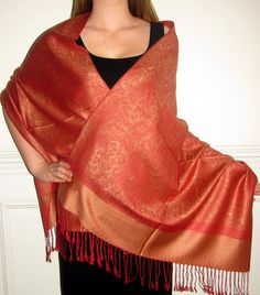Orange shawl wrap for women - silk pashminas on sale in many colors. Seasonal shawl sale www.yourselegantly.com