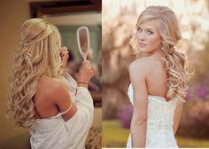 half up half down wedding hair with tiara