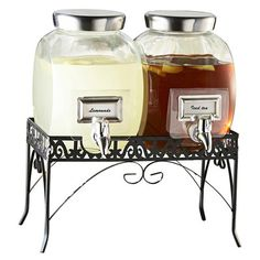 Double 1 Gallon Glass Style Setter Williamsburg Glass Beverage Dispenser with Silver Accents and Metal Stand Glass Water Dispenser, Drink Dispenser, Fun Drinks, Alcoholic Drinks, Beverages, Halloween Party Drinks, Spooky Halloween, Bars For Home, Lemonade