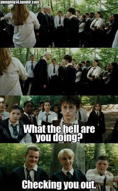 Though I am not a Drarry shipper, but what Draco does in that seen totally looks like he is checking Harry out.