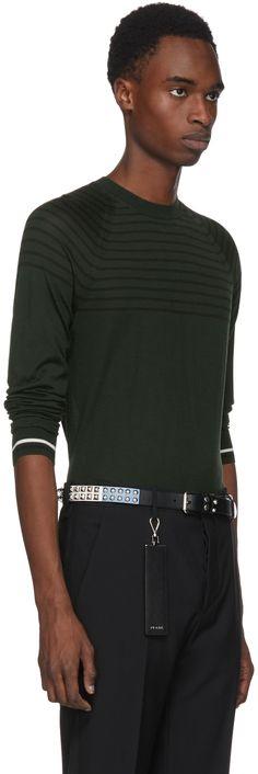 Prada - Green Stripe Knit Crewneck Pullover