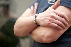 www.877workshop.com — Men's bracelet Canvas Sterling Silver hook navy