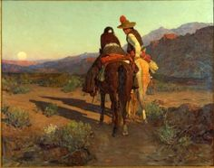 """Desert Romance"" by Frank Tenney Johnson.  -- I love this wonderfully understated depiction of courtship.  Rather than a hyper idealized rendition common in 20th century art or sexualized vision of the 21st, this painting shows intimacy and simple humanity.  You don't know what the lass is thinking or feeling....but she is not moving away."