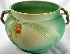 Rare Vintage Art Deco Era Roseville Art Pottery #632-6 Green PINECONE Jardiniere Vase Planter Bowl  STARTING BID IS ONLY 99 CENTS!