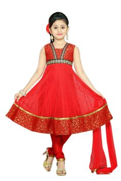 Have a look at this #Red #AnarkaliSuit for girls!!! This suit is set with  lovely #brocade border.