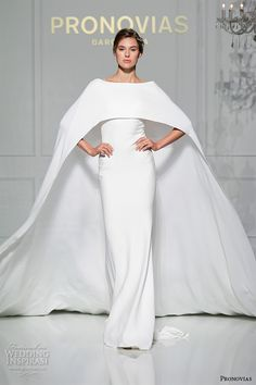 pronovias 2016 bridal gowns bateau neckline chic sheath wedding dress with cape style verona #2016weddingdresses #weddings