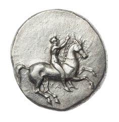Statere - argento - Taras-Tarentum (Taranto) (334-302 a.C.) - giovane nudo a cavallo, le redini nella sinistra, il braccio destro alzato nel saluto - Museum of Fine Arts, Boston