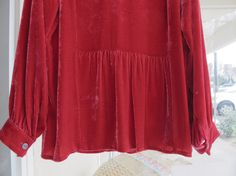 Red Silk Velvet Tunic Raspberry Shade of Red by SoSylvie on Etsy