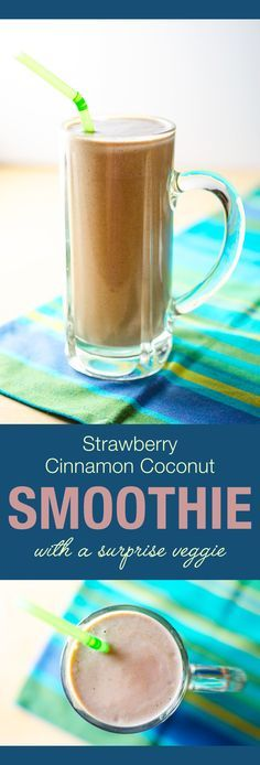 Strawberry Cinnamon Coconut Smoothie with a surprise veggie | VeggiePrimer.com  You'd never guess this smoothie is a green smoothie. Both the color and flavor disguise the healthy veggie hidden inside. #vegan #diary-free #smoothie